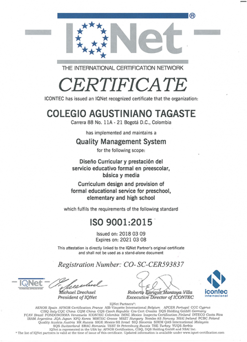 Certificación IQNet iso9001:2015