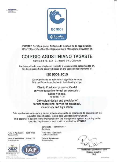Certificación icontec iso9001:2015